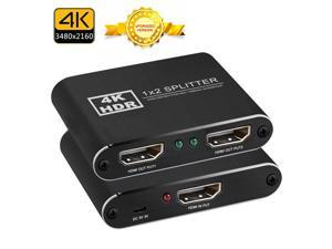 easyday HDMI Splitter 1 in 2 Out, 4K HDMI Splitter for Dual Monitors, 1x2 HDMI Splitter 1 to 2 Amplifier for Full HD 1080P 3D (1 Source into 2 Displays)