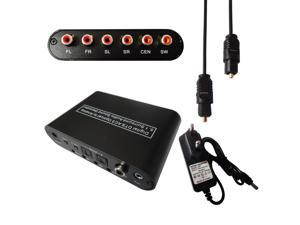 AC3/DTS Digital Optical To 5.1/2.1 Channel Stereo Analog Audio Decoder Converter