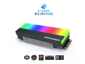 ASIAHORSE 5V 3Pin Piano-Style Argb M.2 Heatsink For PCIE NVME  Or M.2 2280 SSD Cooler with Three M.2 Thermal Pad (Not Included SSD)-BLACK
