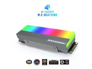 ASIAHORSE 5V 3Pin Piano-Style Argb M.2 Heatsink For PCIE NVME  Or M.2 2280 SSD Cooler with Three M.2 Thermal Pad (Not Included SSD)-GERY