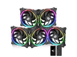 Asiahorse ARGB 5V Motherboard Sync/Analog PWM Controller 20 Addressable LEDs 120mm Hydraulic Bearing Case/Radiator Fan(5 Pack)