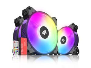 120mm Pc Case Fans,Asiahorse Magic-N Addressable Rgb Color Changing Led Fan with Remote Control Sync & 5V ARGB Motherboard (3Pack black)