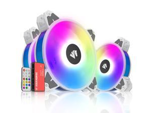 120mm Rgb Case Fans with 5V Argb Motherboard Sync,Asiahorse Magic-E Argb Computer Cooling Pc Case Fan Addressable Rgb Color Changing Led Fan with Remote Control (3Pack white)