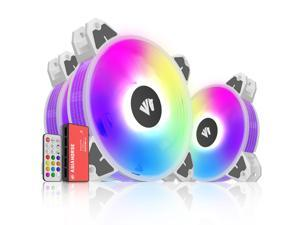 Asiahorse  Magic-i 120 V2 Addressable RGB 3 in 1 Transparent Light Frame Fan, Individually Customizable LEDS, Air Balance Curve Blade Design with Remote Control Sync & 5VARGB Motherboard (3Pack black)