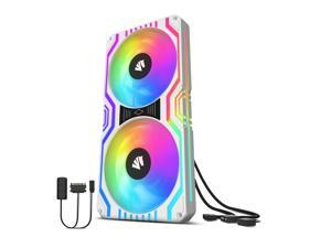 Asiahorse MATRIX-WHITE 58 Addressable RGB LEDs 240MM All-in-One Square Frame Integrated Fan With MB Sync/Analog Controller , Integrated PWM Control Fan for Computer Case and Liquid Cooling System