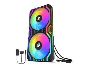 Asiahorse MATRIX-BLACK 58 Addressable RGB LEDs 240MM All-in-One Square Frame Integrated Fan With MB Sync/Analog Controller , Integrated PWM Control Fan for Computer Case and Liquid Cooling System