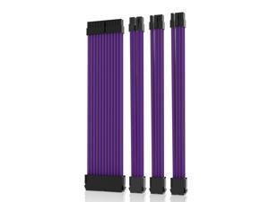 Asiahorse 18AWG Purple Sleeved Cable PSU Extension Cable Kit with 24 PIN 6+2 PIN 4+4 PIN  Sleeved Extension Cables for ATX Power Supply  With Two Color Cable Combs