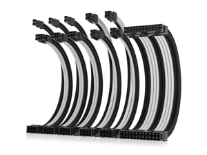 Asiahorse Power Supply Sleeved Cable for Power Supply Extension Cable Wire Kit 1x24-PIN/ 2x8-PIN (4+4) M/B,3x8-PIN (6+2) PCI-E 30cm Length with Combs(Dual EPS White-Black-Mix)