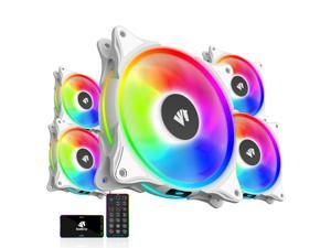 Asiahorse FS-9002 120mm ARGB Bearing Case/Radiator White Case Fan(in and Outside Light effect) with 5V Motherboard Sync/Analog PWM Hub (5PACK)