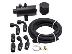 Alloy Baffled 0.75L AN10 Motor Oil Catch Can 3M Hose Kit and Fittings Universal