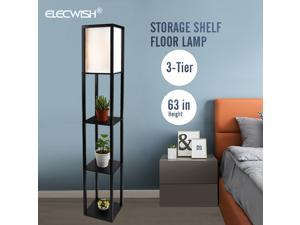 LED Wood Floor Lamp Storage Shelf Reading Light Standing Accent Home Bedroom
