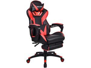 Video Gaming Chair Racing Style Reclining Adjustable Swivel Office Chair with Foot Rest, Massage Lumbar Pillow, Headrest