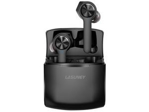 LASUNEY Bluetooth 5.0 True Wireless Earbuds with Wireless Charging Case for iPhone Android, 42H Cyclic Playtime Waterproof TWS Stereo Headphones with mic, in-Ear Earphones Headset for Sport