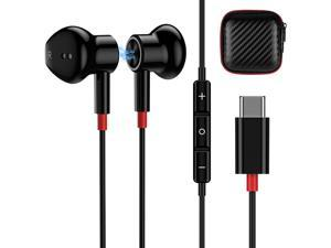USB C Headphone Magnetic, Noise Cancelling Type C Earphones Wired Earbud & in Ear Headphones with Mic Stereo Bass Earbuds Compatible with Samsung Note 20 Ultra Pixel 4 3 XL OnePlus 8T 8 7 Pro