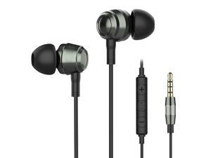 In Ear Earbuds with Microphone, Two Drivers Hybrid(1 Balanced Armature + 1 Dynamic) Earphones, Wired Earbuds with Microphone Noise Isolating Headphones Bass Sound Balanced for Iphone/Android/PC/Tablet