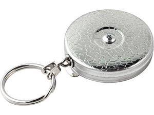 "Key-Bak Original Chain Retractable Key Holder with 24"" Stainless Steel Chain, Chrome Front, Steel Belt Clip, 8 oz. Retraction, Split Ring"