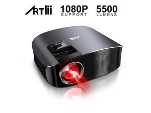 """Movie Projector - Artlii 5500 LUX Full HD 1080P Support Projector, LED Projector with HiFi Stereo, Home Theater Projector w/ 200"""" Projection Size for Remote Learning Movies Sports Nintendo Switch"""