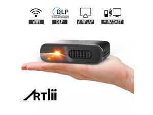 Mini Projector - Artlii Mana Portable DLP Projector with 5200mAh Built-in Battery for Travel, Support 1080P WIFI 3D Screen Mirroring Auto Keystone Correction, WIFI Projector for iPhone and Phone