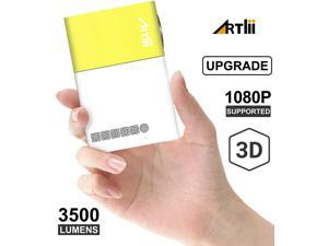 Pico Projector - Artlii 2020 New Mini Projector, Color LED Portable Projector for Cartoon, Movie, Kids Gift, Compatible with HDMI USB Laptop Video Games
