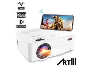 WiFi Bluetooth Projector - Artlii Enjoy 2 Mini Projector for iPhone Support Full HD 1080P, Keystone & Zoom, Outdoor Movie Home Theater Projector Compatible with TV Stick, iOS, Android