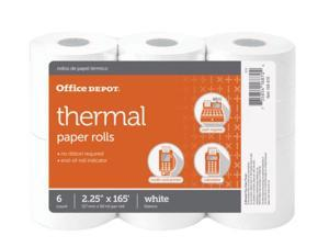 Office Depot Thermal Paper Rolls, 2 1/4in. x 165ft., White, Pack Of 6, 108610