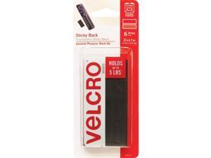 """VELCRO® Brand Heavy-Duty Sticky Back Tape 1""""x2"""" 6/PK Black 90117"""