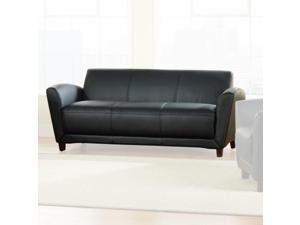 "Lorell Reception Sofa 75""x34-1/2""x31-1/4"" Black Leather 68950"