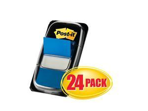 """Post-it® Flags, 1"""" x 1 -11/16"""", Blue, 50 Flags Per Pad, Pack Of 24 Pads"""