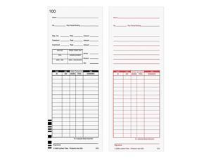 "Lathem Time Cards, F/7000E, Numbered 1-100, 2-Sided, 3 3/8"" x 9"", White, Pack Of 100"