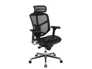 WorkPro® Quantum 9000 Ergonomic Mesh/Nylon Executive High-Back Chair With Headrest, Black/Silver