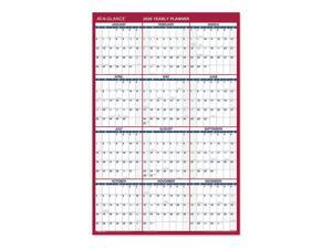 "AT-A-GLANCE® 2-Sided Yearly Erasable Wall Calendar, 24"" x 36"", Blue/Gray, January To December 2020, PM26B28"