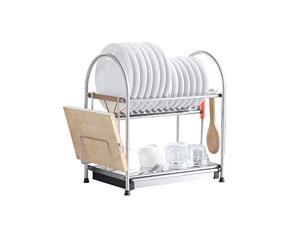 NEX Stainless Steel 2-Tier Dish Draining Rack With Draining Pan, Adjustable, Cutting Board Holder, Large and Spacious (NX-D002)