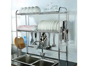 NEX Height Adjustable 2-Tier Nonslip Stainless Steel Dish Rack With Chopstick Holder, Moveable S-Hooks, Cutting Board Holder, Double Grooves (NX-BOWLSHELF02)