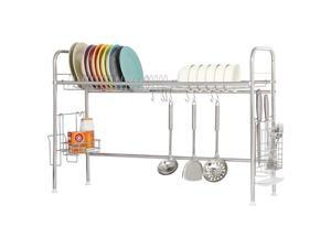 NEX Single Layer Adjustable Stainless Steel Dish Rack With Utensil And Chopstick Holder, S-Hooks, Storage Basket, And Draining Tray (NX-BOWLSHELF06)