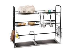 NEX Height Adjustable 2-Tier Nonslip Stainless Steel Dish Rack With Chopstick Holder, Moveable S-Hooks, Cutting Board Holder, Double Grooves Black (NX- DKT125-02)