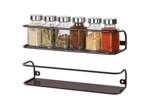 NEX Spice Racks Wall Mounted Spice Storage Brown- 2 Pack (NX-KD55-17)