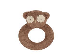 angel dear ring rattle, brown owl
