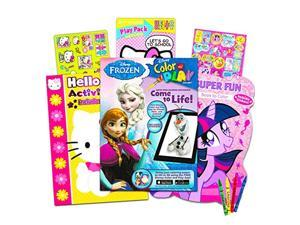 coloring books with stickers assortment ~ hello kitty coloring book, my little pony coloring book, disney frozen coloring book
