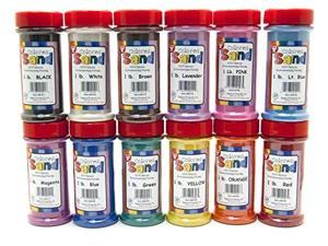 hygloss products colored play sand - assorted colorful craft art bucket o' sand, 12 containers, 1 lb each