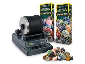 national geographic hobby rock tumbler kit - rock polisher for kids & adults, noise-reduced barrel, grit, 2.5 pounds raw ge