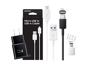 official samsung fast wall charger with c type - micro usb cable retail packing c otg adapter -for galaxy s6/s7/s8/s9/ +/note5/