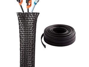 pet expandable braided sleeving 1/2 inch flexo cable sleeve braided sleeve for braided wire sleeve management 25 ft black