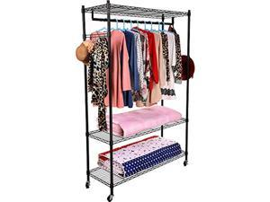 homdox 3-tiers large size heavy duty wire shelving garment rolling rack clothing rack with double clothes shelves and lockable