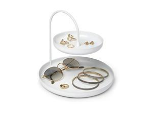 umbra 1009707-660 poise large, double, attractive storage you can leave out, two-tiered jewelry tray, accessory holder, white