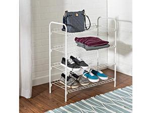 honey-can-do sho-01172 wire shoe & accessory rack, white, 4-tier