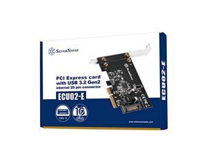 ecu02-e pci express card with usb 3.2 gen 2 internal 20 pin key-a connector 5v via sata 15pin power connector low profile - pci