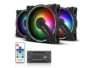 abkoncore hr120 rgb fans, 3 pack 120mm computer fans, 5v argb motherboard sync/remote controller, ajustable fan speed and color