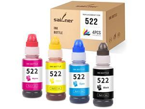 sailner compatible ink bottle replacement for 522 t522 use with ecotank et-2720 et-4700 (1 black, 1 cyan, 1 magenta, 1 yellow,