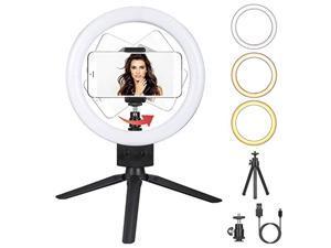 dimmable led ring light with tripod phone selfie camera studio desktop led beauty camera ring light 3 lighting modes 10 brightn