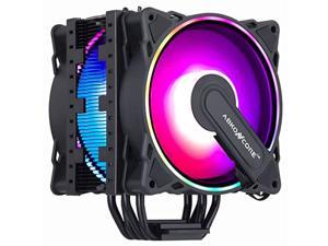 abkoncore rgb cpu cooler ct404b, 4 continuous direct contact heatpipes, dual 120mm pwm sync addressable rgb fans with sync 61 led modes for intel lga1151/1200, amd am4/ryzen cpus(1